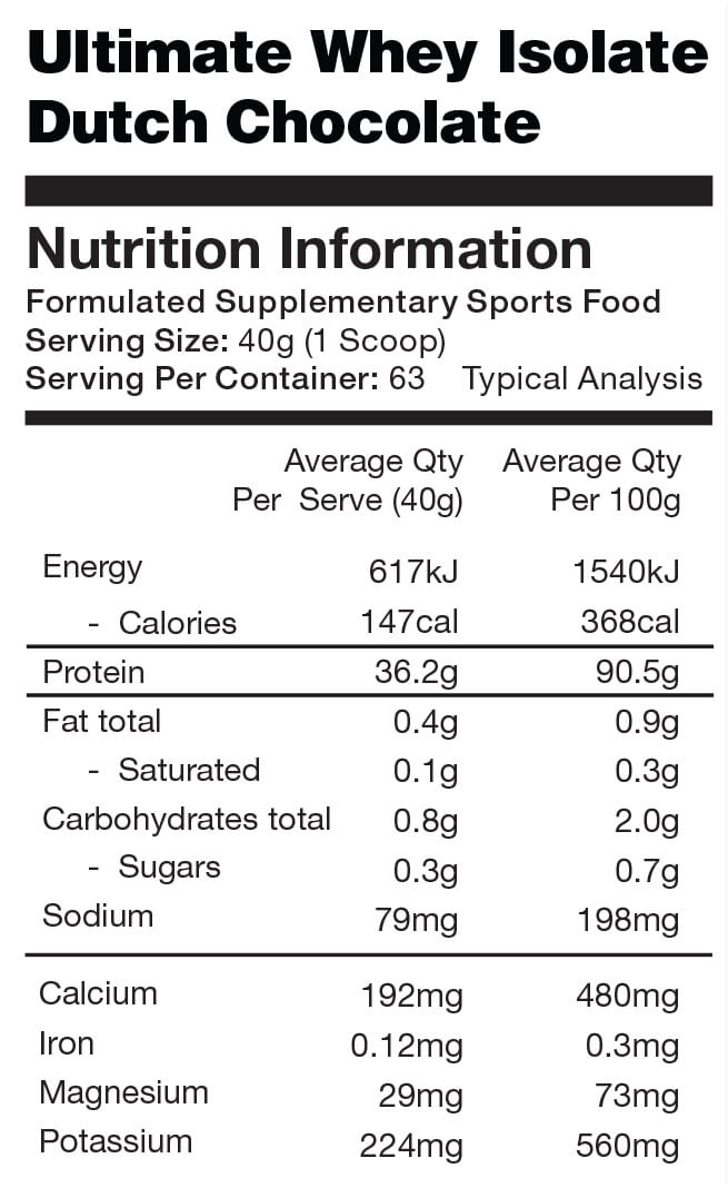 Ultimate whey isolate nutrition info